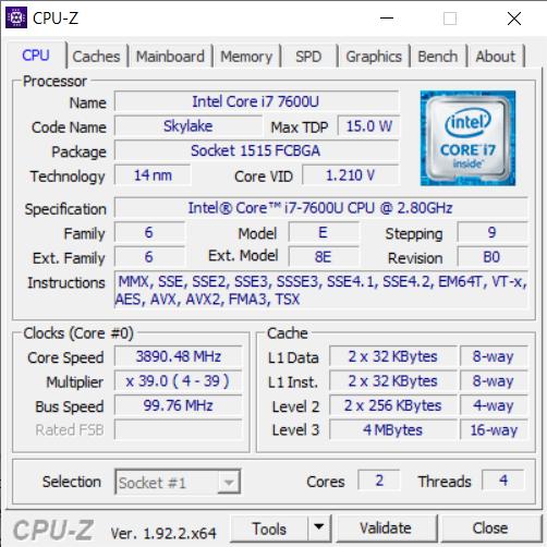 CPU-Z множитель и частота